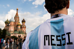July 13, 2018 - Moscow, Russia - 180713 A fan of Argentina with a Messi shirt is seen at Saint Basil's Cathedral at the Red Square during the FIFA World Cup on July 13, 2018 in Moscow..Photo: Petter Arvidson / BILDBYRN / kod PA / 92086 (Credit Image: © Petter Arvidson/Bildbyran via ZUMA Press)