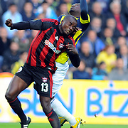 Gaziantepspor's Dany NOUNKEU (L) during their Turkish superleague soccer match Fenerbahce between Gaziantepspor at the Sukru Saracaoglu stadium in Istanbul Turkey on Saturday 16 April 2011. Photo by TURKPIX
