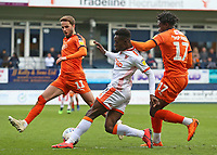 Blackpool's Joe Dodoo battles between Luton Town's Pelly Ruddock & AndrewShinnie<br /> <br /> Photographer David Shipman/CameraSport<br /> <br /> The EFL Sky Bet League One - Luton Town v Blackpool - Saturday 6th April 2019 - Kenilworth Road - Luton<br /> <br /> World Copyright © 2019 CameraSport. All rights reserved. 43 Linden Ave. Countesthorpe. Leicester. England. LE8 5PG - Tel: +44 (0) 116 277 4147 - admin@camerasport.com - www.camerasport.com