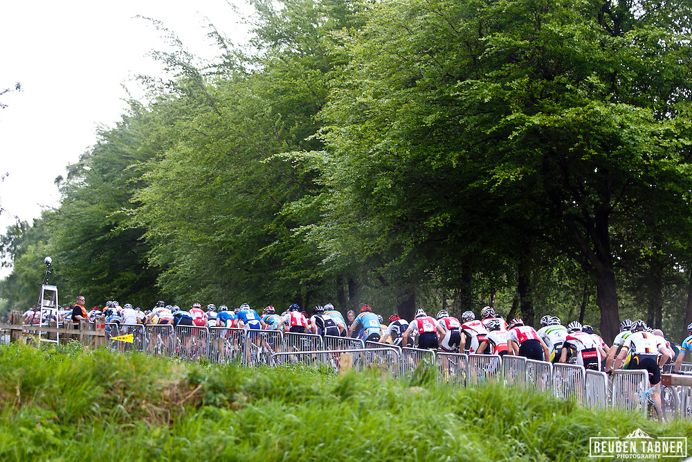 © Reuben Tabner. .Pickering, North Yorkshire, UK  20/05/11. The under 23 men's race head's out on the extended start loop. 2011 UCI Mountain Bike Cross-Country World Cup at Dalby Forest..Please see special instructions for usage rates. Photo credit should read: Reuben Tabner