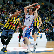 Anadolu Efes's Birkan Batuk (C) during their Turkish Airlines Euroleague Basketball Top 16 Round 14 match Fenerbahce Ulker between Anadolu Efes at the Ulker Sports Arena in Istanbul, Turkey, Thursday 09 April, 2015. Photo by Aykut AKICI/TURKPIX