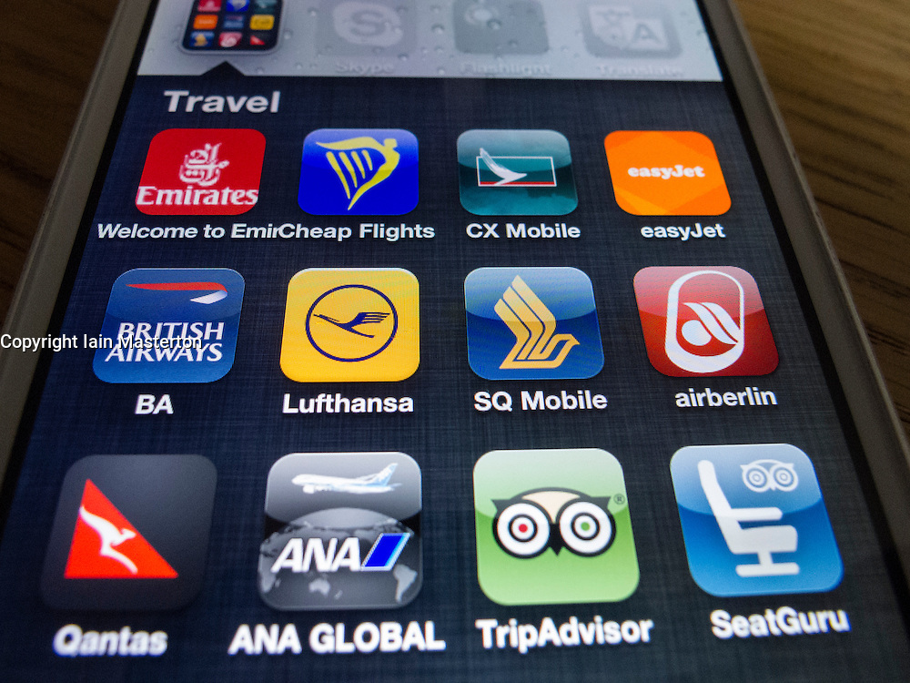 detail of many travel apps on a iPhone 5 smart phone