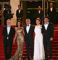 Nahed El Sebaï, Egyptian director Yousry Nasrallah, Egyptian actress Menna Shalaby, Bassem Samra,, at the gala screening of the film Baad El Mawkeaa at the 65th Cannes Film Festival. Thursday 17th May 2012, the red carpet at Palais Des Festivals in Cannes, France.