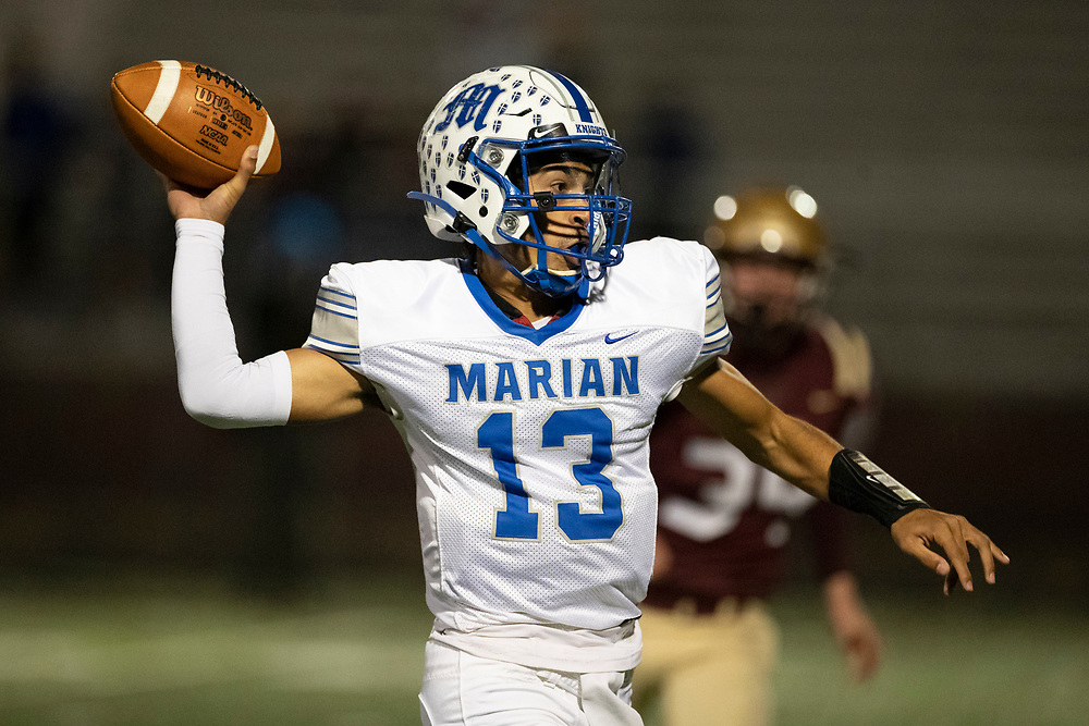 Marian's Maddix Bogunia-Bright passes the ball during the Marian-Jimtown high school football game on Friday, November 06, 2020, at Knepp Field in Elkhart, Indiana.
