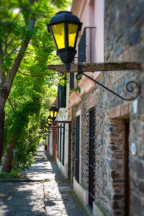 View of the street in Colonia del Sacramento in Uruguay.