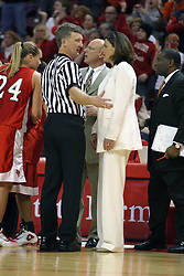 12 March 2005<br /> <br /> Coach Robin Pingeton requests an explanation from an official.<br /> <br /> 8th seed and Tournament Host, Illinois State University Redbirds, played spoiler and best the #1, #2 & #4 ranked teams to win the Missouri Valley Confernce Hoops in the Heartland Tournament.  In the final game today, the Redbirds bested the #2 seeded Indiana State University Sycamores by 2 points with a .8 second to go buzzer beater jump shot from the middle of the lane.  The Redbirds get an automatic birth to the NCAA Tournament. The Redbirds last played in the NCAA Tournament in 1989.  Hoops in the Heartland was held at Redbird Arena, Illinois State University, Normal IL