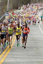 2013 Boston Marathon: sub-elite men in first mile of race; [R-L] Titus Mutinda, Joseph Ekuom, Uli Steidl, Glenn Randall,
