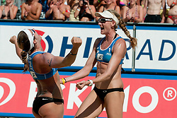 Kerri Walsh and Misty May-Treanor of USA celebrate victory of A1 Beach Volleyball Grand Slam tournament of Swatch FIVB World Tour 2011, on August 6, 2011 in Klagenfurt, Austria. (Photo by Matic Klansek Velej / Sportida)