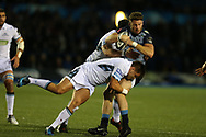 Alex Cuthbert of Cardiff Blues is tackled by Glasgow's George Turner and Tim Swinson. Guinness Pro14 rugby match, Cardiff Blues v Glasgow Warriors Rugby at the Cardiff Arms Park in Cardiff, South Wales on Saturday 16th September 2017.<br /> pic by Andrew Orchard, Andrew Orchard sports photography.