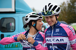 Dalia Muccioli chats to her teammate on the way to sign on at Gran Premio Bruno Beghelli 2017 - a 80 km road race, in Monteveglio, Italy on October 1, 2017. (Photo by Sean Robinson/Velofocus.com)