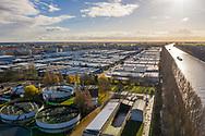 Nederland, Weesp, 20181204<br /> Industrieterrein van Weesp met op de voorgrond de rioolwaterzuiveringsinstallatie.<br /> <br /> Foto (c) Michiel Wijnbergh