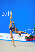 """Kudryavtseva Yana of Russia  during qualifying at hoop in Pesaro World Cup at Adriatic Arena on April 10, 2015, Italy. Yana """"The Queen"""" is a Russian gymnast born in Moscow on September 30, 1997. Until her retirement in 2017 was one of atllete most awarded in the history of rhythmic gymnastics."""