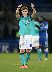 Blackburn Rovers's Tom Cairney puts his thumbs up to the travelling fans. - Photo mandatory by-line: Alex James/JMP - Mobile: 07966 386802 - 17/02/2015 - SPORT - Football - Cardiff - Cardiff City Stadium - Cardiff City v Blackburn Rovers - Sky Bet Championship