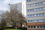 Local atmosphere due to Coronavirus lockdown is felt on a street by street level as streets remain deserted near the tower blocks of flats of the Civic Centre Estate as people observe the stay at home advice from the government on 7th April 2020 in Birmingham, England, United Kingdom. Coronavirus or Covid-19 is a new respiratory illness that has not previously been seen in humans. While much or Europe has been placed into lockdown, the UK government has announced more stringent rules as part of their long term strategy, and in particular social distancing.