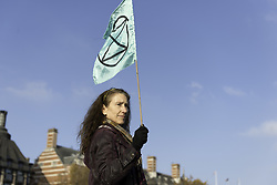 November 17, 2018 - London, Greater London, United Kingdom - Environmental activists seen holding a green flag with the Extinction Rebellion logo stamped on it...The Extinction Rebellion activists gathered at five main bridges in London, to raise their concerns about climate change and demand that the UK government commits to reducing  carbon emissions to zero by 2025. (Credit Image: © Andres Pantoja/SOPA Images via ZUMA Wire)
