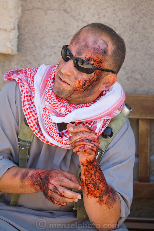 One of the actors in crisis simulations at Medina Wasl, a fabricated Iraqi town at Camp Irwin in California.