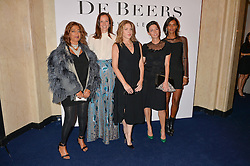 Left to right, ZAHA HADID, BRITA FERNANDEZ SCHMIDT, DIANA KRALL, MARY McCARTNEY and LIYA KEBEDE at the De Beers Moments in Light - a celebration of telented women in association with Women For Women International featuring photographs by Mary McCartney held at Claridge's, Brook Street, London on 18th September 2015.
