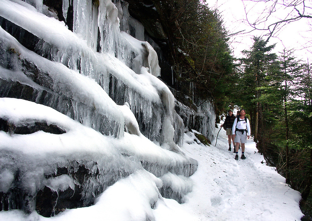 Hiking through the Smokey Mountains in Tennessee on the way to the Mt. Leconte Lodge. A frozen waterfall along the trail.