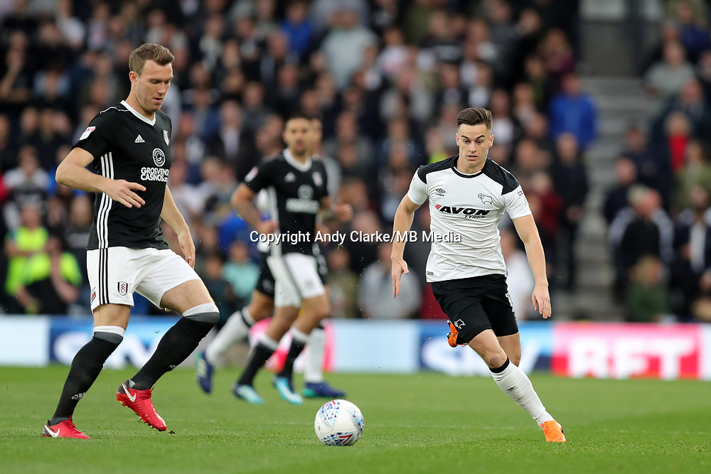 DERBY, ENGLAND - MAY 11: - DCFC vs Fulham. Tom Lawrence, chases down the ball