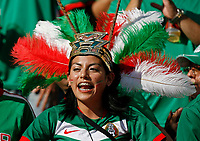 Photo: Glyn Thomas.<br />Mexico v Iran. Group D, FIFA World Cup 2006. 11/06/2006.<br /> A Mexican fan wearing a headdress.