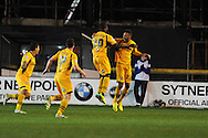 Newport's Deji Oshilaja (20) celebrates with teammate Christian Jolley after he scores his sides 2nd goal. Johnstone's Paint Trophy Quarter Final (Southern Area)  match, Newport county v Portsmouth at Rodney Parade in Newport, South Wales on Tuesday 12th November 2013. pic by Andrew Orchard, Andrew Orchard sports photography,