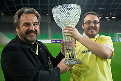 Stane Orazem and his son Matej Orazem of Domzale celebrate after winning the football match between NK Domzale and NK Maribor in final match of Hervis Cup, on May 25, 2011 in SRC Stozice, Ljubljana, Slovenia. Domzale defeated Maribor and became Slovenian Cup Champion 2011. (Photo By Vid Ponikvar / Sportida.com)
