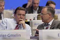 18 NOV 2003, BOCHUM/GERMANY:<br /> Gerhard Schroeder (L), SPD, Bundeskanzler, und Hans Eichel (R), SPD, Bundesfinanzminister, im Gespraech, SPD Bundesparteitag, Ruhr-Congress-Zentrum<br /> IMAGE: 20031118-01-104<br /> KEYWORDS: Parteitag, party congress, SPD-Bundesparteitag, Gerhard Schröder, Gespräch