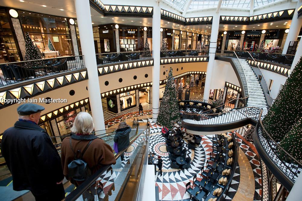 Interior view of beautiful elegant atrium inside Quartier 206 upmarket shopping mall on Friedrichstrasse in Mitte Berlin 2009