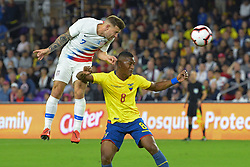 March 21, 2019 - Orlando, Florida, USA - US forward Paul Arriola (7) and Ecuador midfielder Carlos Gruezo (8) go for a ball during an international friendly between the US and Ecuador at Orlando City Stadium on March 21, 2019 in Orlando, Florida. .The US won the game 1-0...©2019 Scott A. Miller. (Credit Image: © Scott A. Miller/ZUMA Wire)