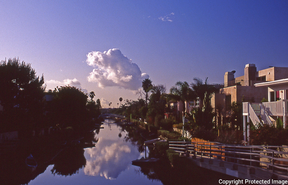 Sunrise in Venice Beach Grand Canal in Los Angeles