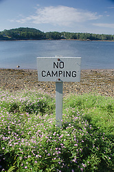 No Camping Sign, Holbrook Island, Holbrook Island Sanctuary State Park, Brooksville, Maine, US
