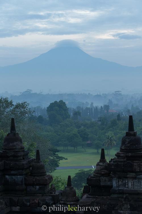 View over Stupas from Borobudur, Kedu Valley, Yogyakarta, South Central Java, Java, Indonesia, Southeast Asia