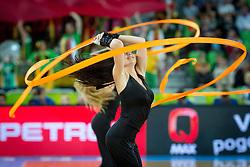 Cheerleaders Klaipeda University Leaderdance during basketball match between national team of Ukraine and Lithuania of Eurobasket 2013 on September 15, 2013 in SRC Stozice, Ljubljana, Slovenia. (Photo By Matic Klansek Velej / Sportida.com)