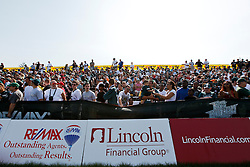 Fans watch practice during the Philadelphia Eagles NFL training camp in Bethlehem, Pennsylvania at Lehigh University on Saturday August 8th 2009. (Photo by Brian Garfinkel)