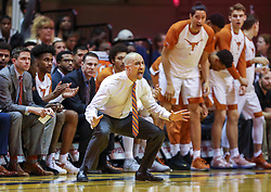 Feb 9, 2019; Morgantown, WV, USA; Texas Longhorns head coach Shaka Smart yells from the bench during the first half against the West Virginia Mountaineers at WVU Coliseum. Mandatory Credit: Ben Queen-USA TODAY Sports