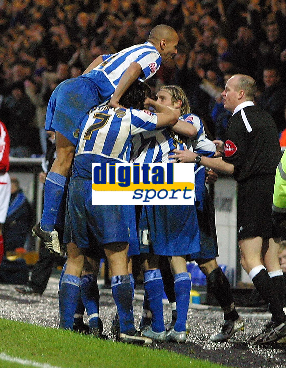 Photo: Paul Thomas.<br /> Chester City v Nottingham Forest. The FA Cup.<br /> 03/12/2005.<br /> <br /> Chester celebrate Ryan Lowe's second goal.