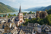 Romantic Rhine view of St. Peter's Protestant Church, Werner Chapel Ruins, Rhine River, and rolling hills, Bacharach, Germany.