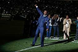 Former Philadelphia Eagle Brian Dawkins during the half time ceremony to retire his jersey number as he retires from the NFL during the NFL football game between the New York Giants and the Philadelphia Eagles on Sunday, September 30th 2012 in Philadelphia. The Eagles won 19-17. (Photo by Brian Garfinkel)