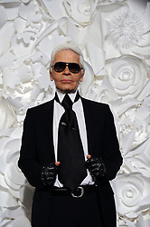 German designer Karl Lagerfeld appears on the catwalk at the end of Chanel Spring-Summer 2009 Haute-Couture collection show held at the Pavillon Cambon Capucines in Paris, France on January 27, 2009. Photo by Thierry Orban/ABACAPRESS.COM