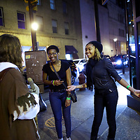 """Two enthusiastic women greet Michael Grant, 28, """"Philly Jesus,"""" in Philadelphia, PA.  Nearly everyday for the last 8 months, Grant has dressed as Jesus Christ, and walked the streets of Philadelphia to share the Christian gospel by example.  He quickly acquired the nickname of """"Philly Jesus,"""" which he has gone by ever since."""