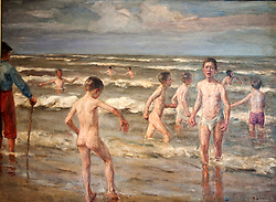 Painting Badende Jungen by Max Liebermann  at Markisches Museum in central Berlin Germany