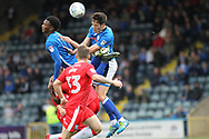 Jim McNulty and Kgosi Nthle combine during the EFL Sky Bet League 1 match between Rochdale and Gillingham at Spotland, Rochdale, England on 23 September 2017. Photo by Daniel Youngs.