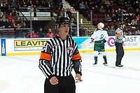 KELOWNA, BC - SEPTEMBER 28:   Referee Matt Hicketts stands on the ice at the Kelowna Rockets against the Everett Silvertips at Prospera Place on September 28, 2019 in Kelowna, Canada. (Photo by Marissa Baecker/Shoot the Breeze)