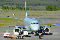 Embraer 190 on the Whitehorse Airport ramp