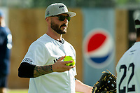 KELOWNA, CANADA - JUNE 28: Retired NHL player Brian Gionta warms up during the opening charity game of the Home Base Slo-Pitch Tournament fundraiser for the Kelowna General Hospital Foundation JoeAnna's House on June 28, 2019 at Elk's Stadium in Kelowna, British Columbia, Canada.  (Photo by Marissa Baecker/Shoot the Breeze)
