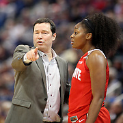 HARTFORD, CONNECTICUT- DECEMBER 19: Head Coach Kevin McGuff, Ohio State Buckeyes, talking with Stephanie Mavunga #1 of the Ohio State Buckeyes on the sideline during the UConn Huskies Vs Ohio State Buckeyes, NCAA Women's Basketball game on December 19th, 2016 at the XL Center, Hartford, Connecticut (Photo by Tim Clayton/Corbis via Getty Images)