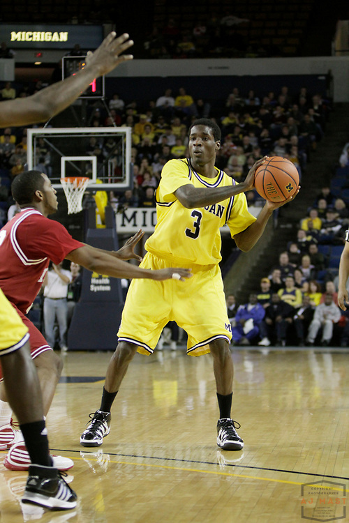 14 January 2010: Michigan guard Manny Harris (3) as the Indiana Hoosiers played the Michigan Wolverines in a college basketball game in Bloomington, Indianapolis