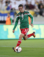 Mexico's Miguel Layun against New Zealand in the World Cup Football qualifier, Westpac Stadium, Wellington, New Zealand, Wednesday, November 20, 2013.