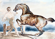 Le Dressage'  Man training (breaking) a horse with docked tail.   Theodore Gericault (1791-1824) French painter. Watercolour.