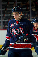 REGINA, SK - MAY 25: Scott Mahovlich #25 of Regina Pats warms up against the Hamilton Bulldogs at the Brandt Centre on May 25, 2018 in Regina, Canada. (Photo by Marissa Baecker/CHL Images)